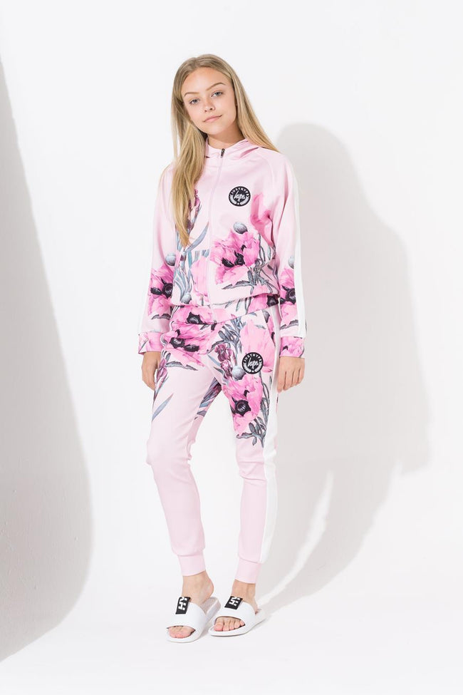 HYPE PINK BORDER FLORAL KIDS TRACK JACKET