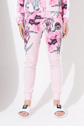 HYPE PINK BORDER FLORAL KIDS TRACK PANTS