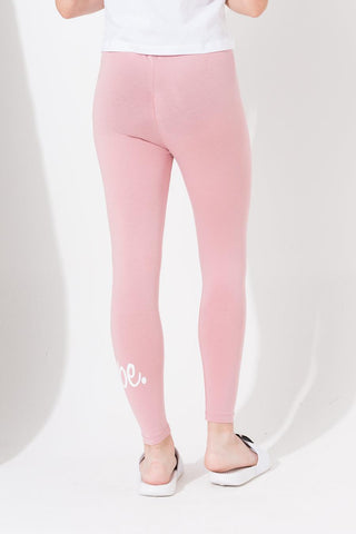 HYPE BABY PINK SCRIPT KIDS LEGGINGS