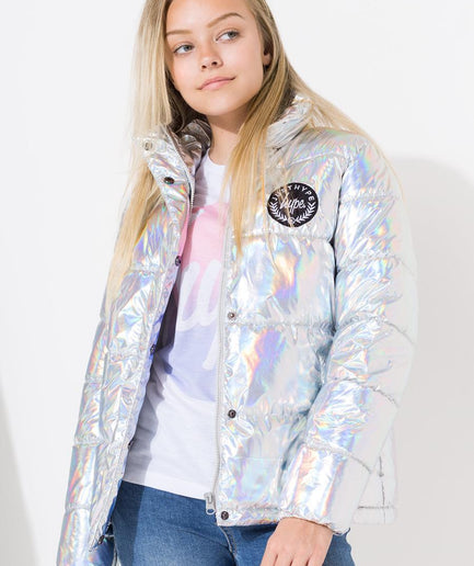HYPE SILVER METALLIC KIDS PUFFER JACKET