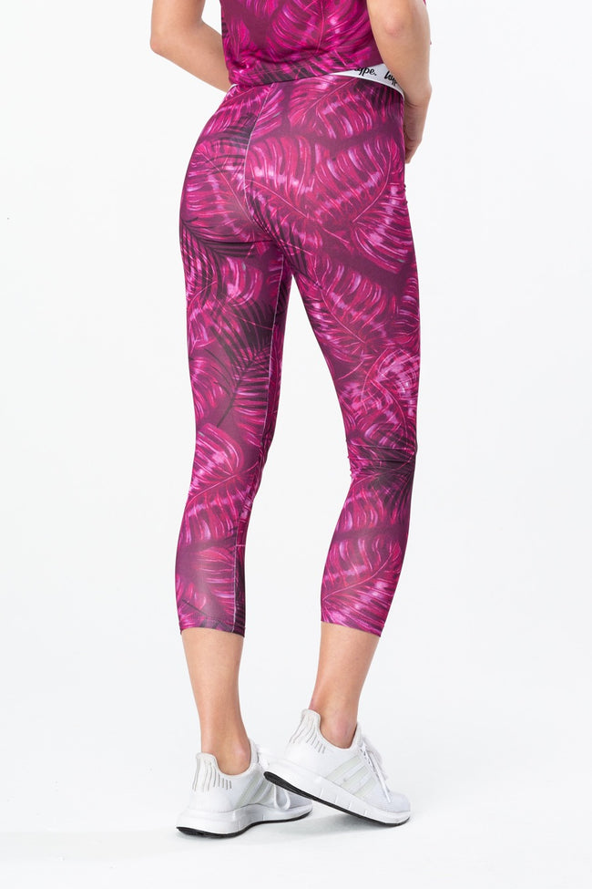 HYPE PINK NEON LEAVES WOMENS LEGGINGS