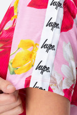 HYPE PINK FLORAL TAPE WOMEN'S CROP TEE