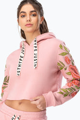 HYPE PINK FLORAL WOMENS CROPPED HOODIE