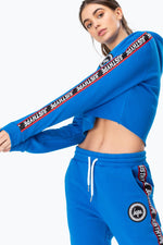 HYPE BLUE JUSTHYPE TAPE WOMEN'S CROPPED HOODIE