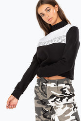 HYPE BLACK SPORTING PANEL WOMENS CREW NECK
