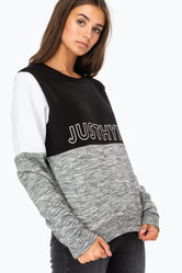 HYPE BLACK JH SPACE PANEL WOMENS CREW NECK