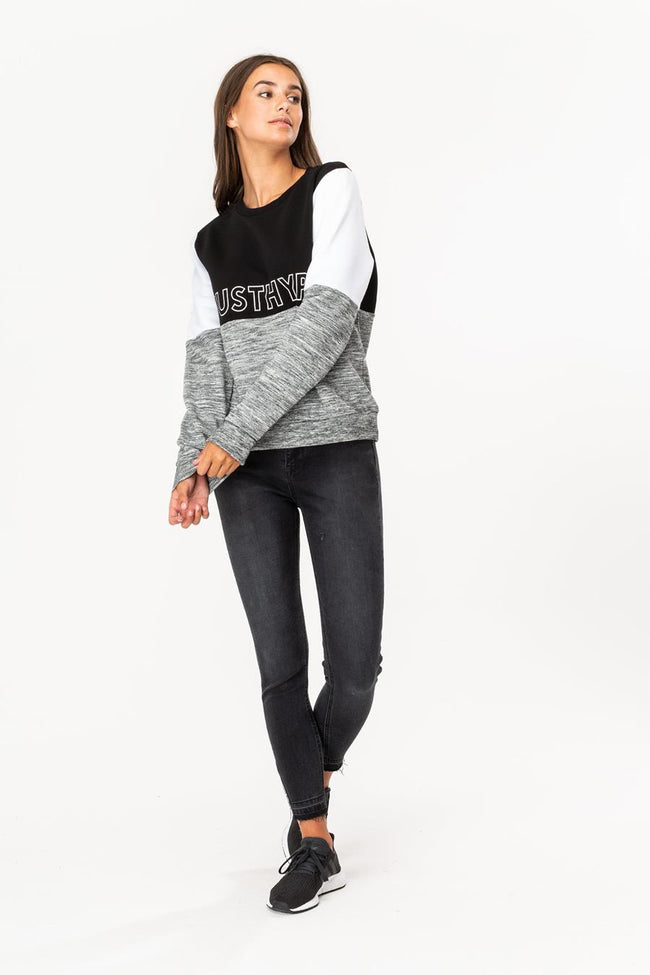 HYPE BLACK JH SPACE PANEL WOMEN'S CREWNECK