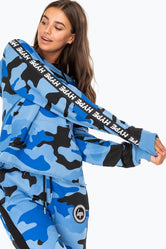 HYPE BLUE TAPED CAMO WOMENS HOODIE