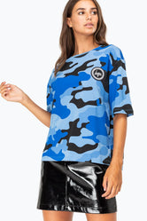 HYPE BLUE CAMO DROP SHOULDER WOMENS T-SHIRT