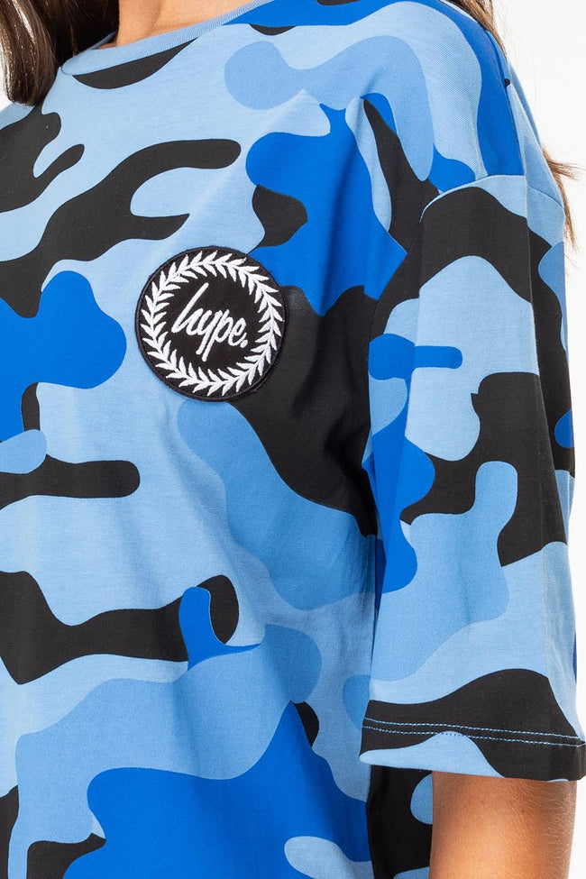 HYPE BLUE CAMO DROP SHOULDER WOMEN'S T-SHIRT