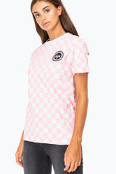HYPE PINK CHECKERBOARD WOMENS T-SHIRT