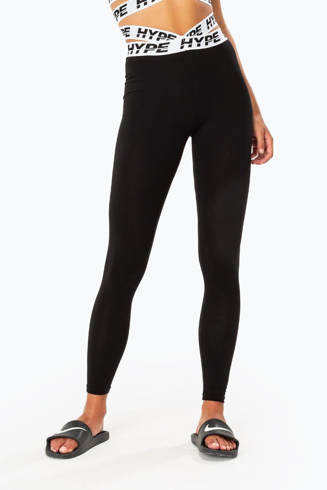 HYPE BLACK OVERLAP WOMEN'S LEGGINGS