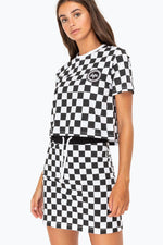 HYPE BLACK CHECKERBOARD WOMENS CROP TOP
