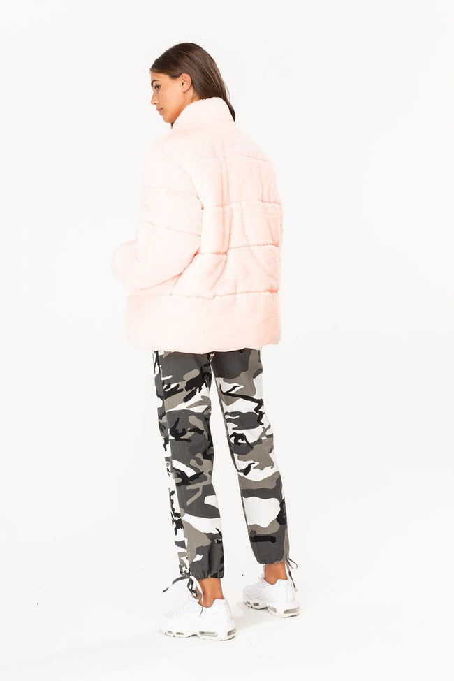 HYPE PINK FAUX WOMENS PUFFER JACKET