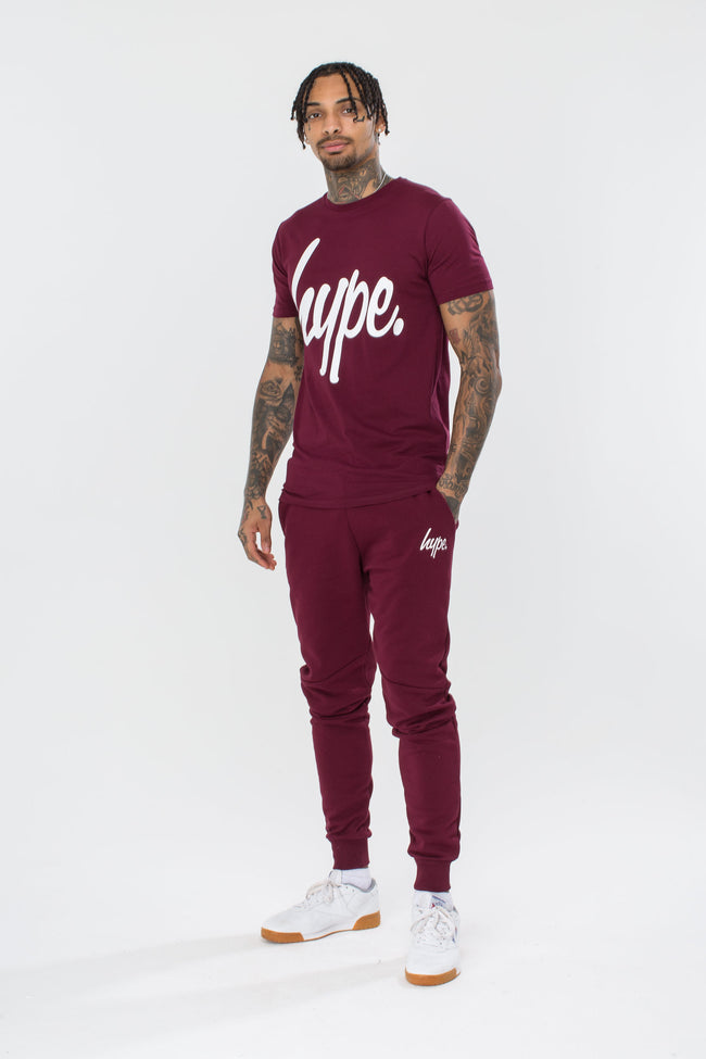 HYPE BURGUNDY SCRIPT MENS T-SHIRT