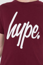 HYPE BURGUNDY HYPE SCRIPT KIDS T-SHIRT