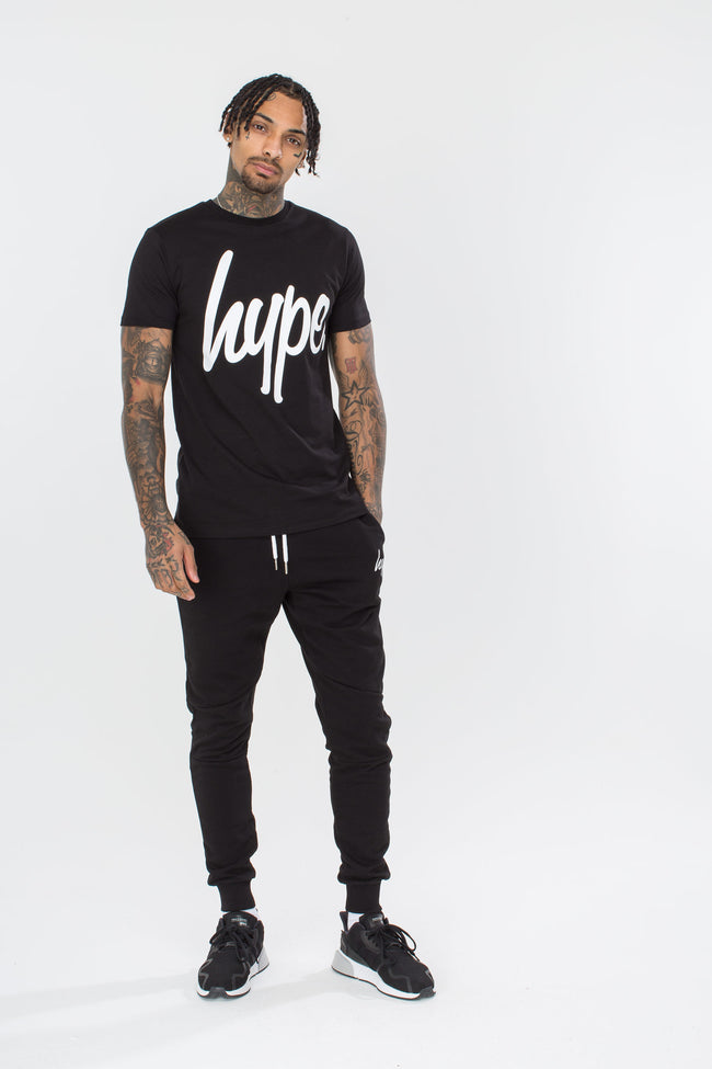 HYPE BLACK WHITE SCRIPT MENS T-SHIRT
