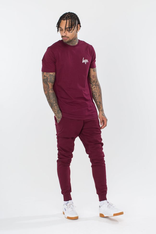 HYPE BURGUNDY BREAST MINI SCRIPT MENS T-SHIRT