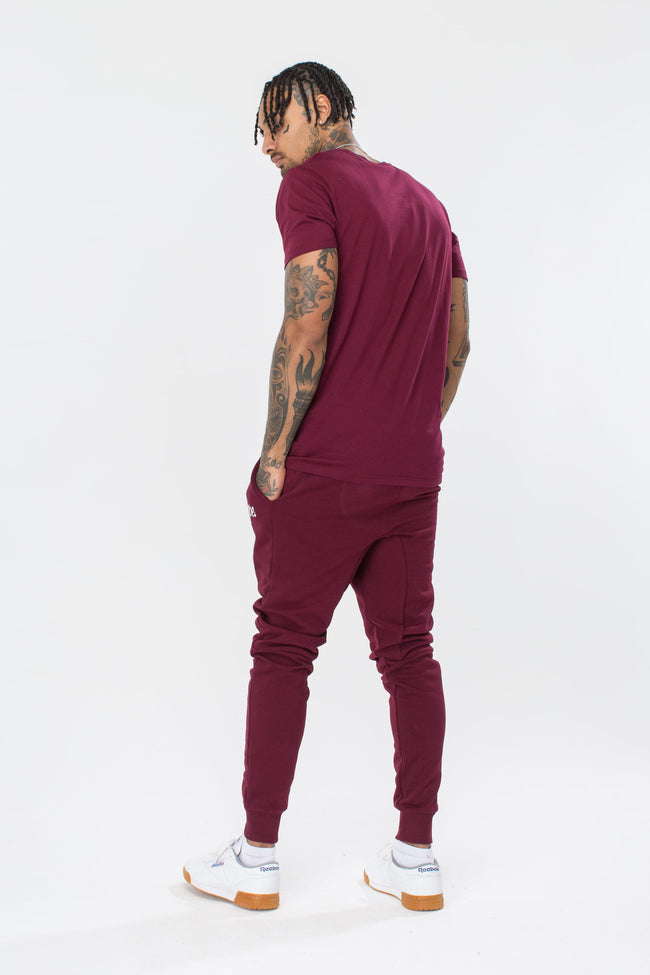 HYPE BURGUNDY BREAST MINI SCRIPT MEN'S T-SHIRT