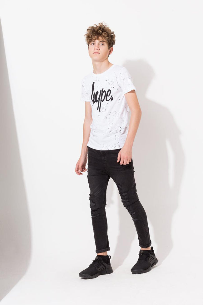 HYPE WHITE AOP SPECKLE KIDS T-SHIRT