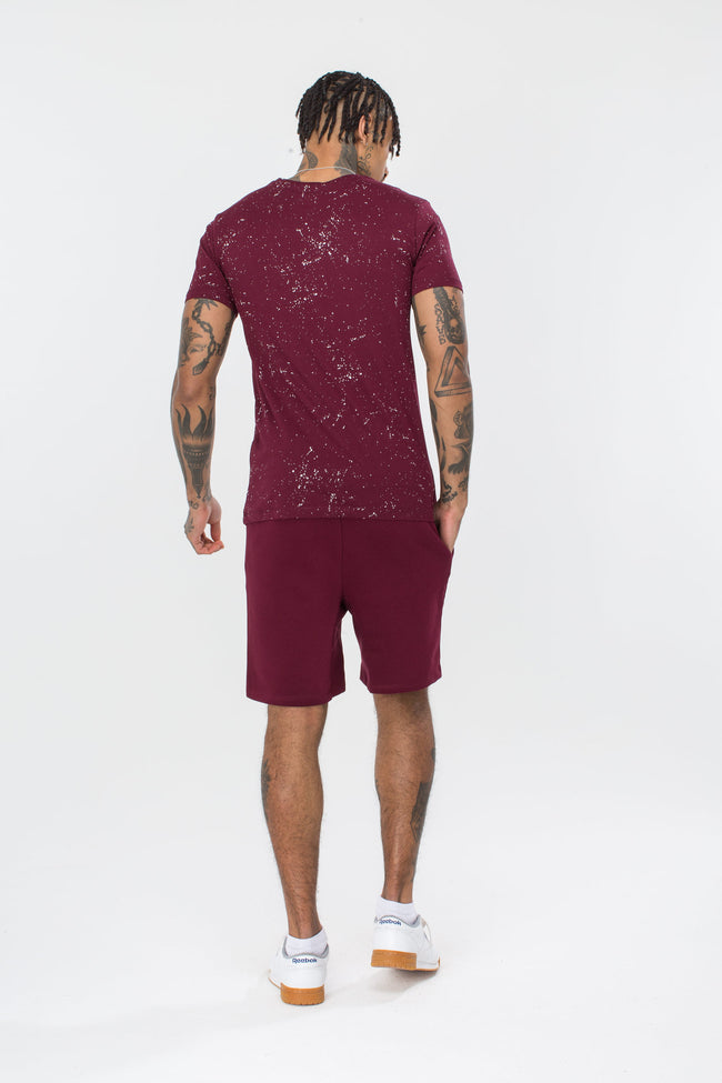 HYPE BURGUNDY AOP SPECKLE MENS T-SHIRT