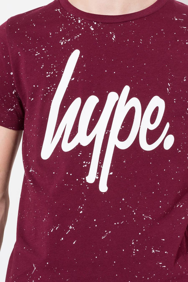 HYPE BURGUNDY AOP SPECKLE KIDS T-SHIRT