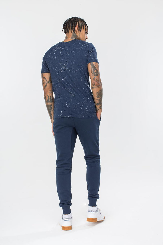 HYPE NAVY AOP SPECKLE MENS T-SHIRT