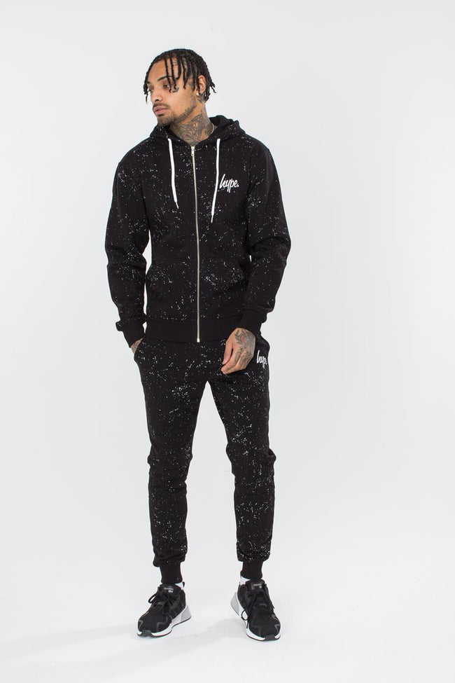 HYPE BLACK AOP SPECKLE MEN'S ZIP HOODIE