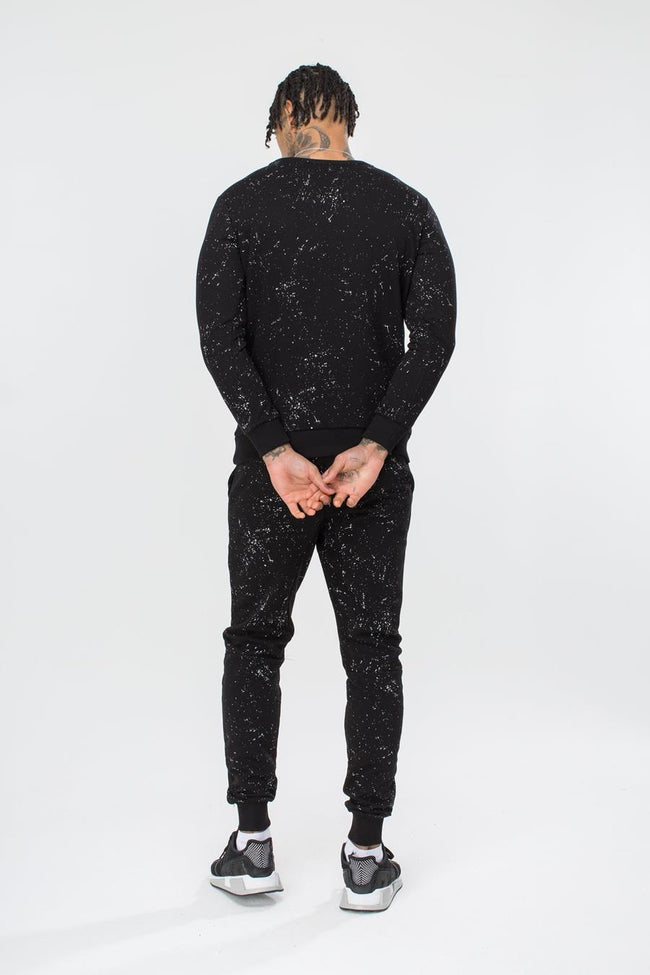 HYPE BLACK AOP SPECKLE MENS CREW NECK