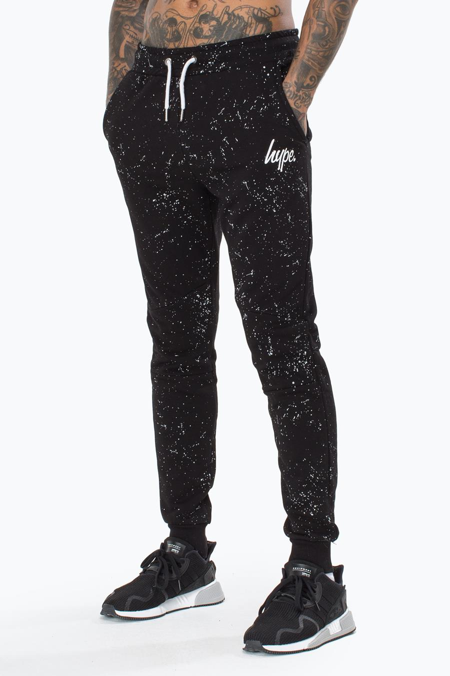 Hype Aop Speckle Mens Black Joggers | Size XX-Small
