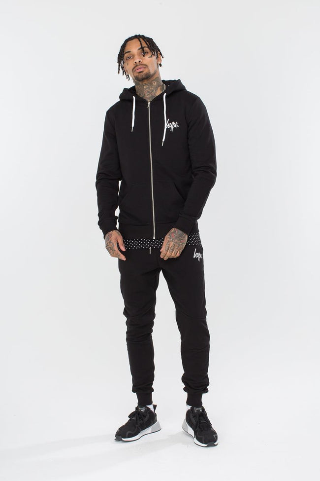 HYPE BLACK MINI SCRIPT MEN'S ZIP HOODIE