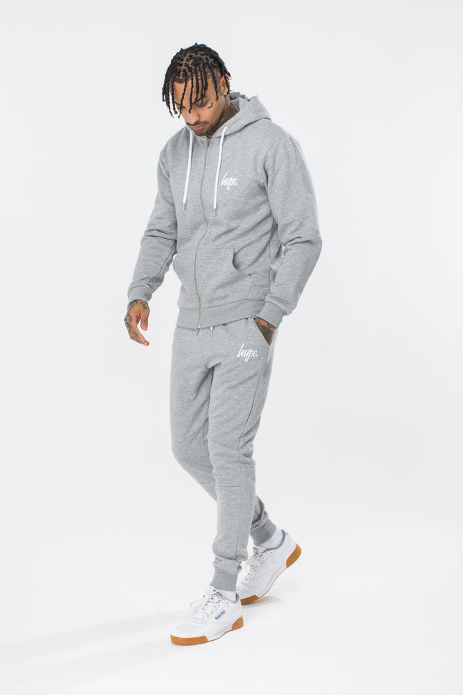 HYPE GREY MINI SCRIPT MENS ZIP HOODIE