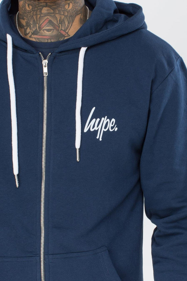 HYPE NAVY MINI SCRIPT MEN'S ZIP HOODIE
