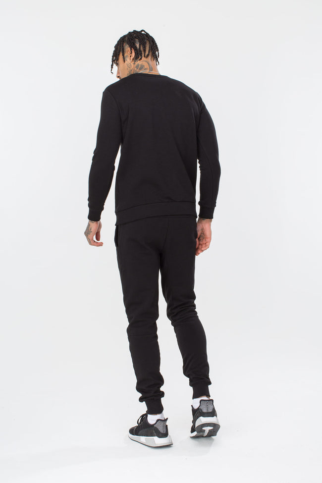 HYPE BLACK SCRIPT MENS CREW NECK
