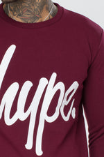 HYPE BURGUNDY SCRIPT MEN'S CREWNECK