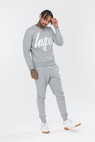 Hype Grey Script Mens Crew Neck
