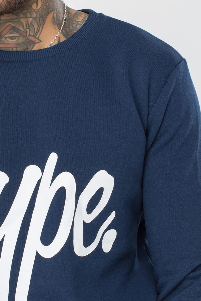HYPE NAVY SCRIPT MENS CREW NECK