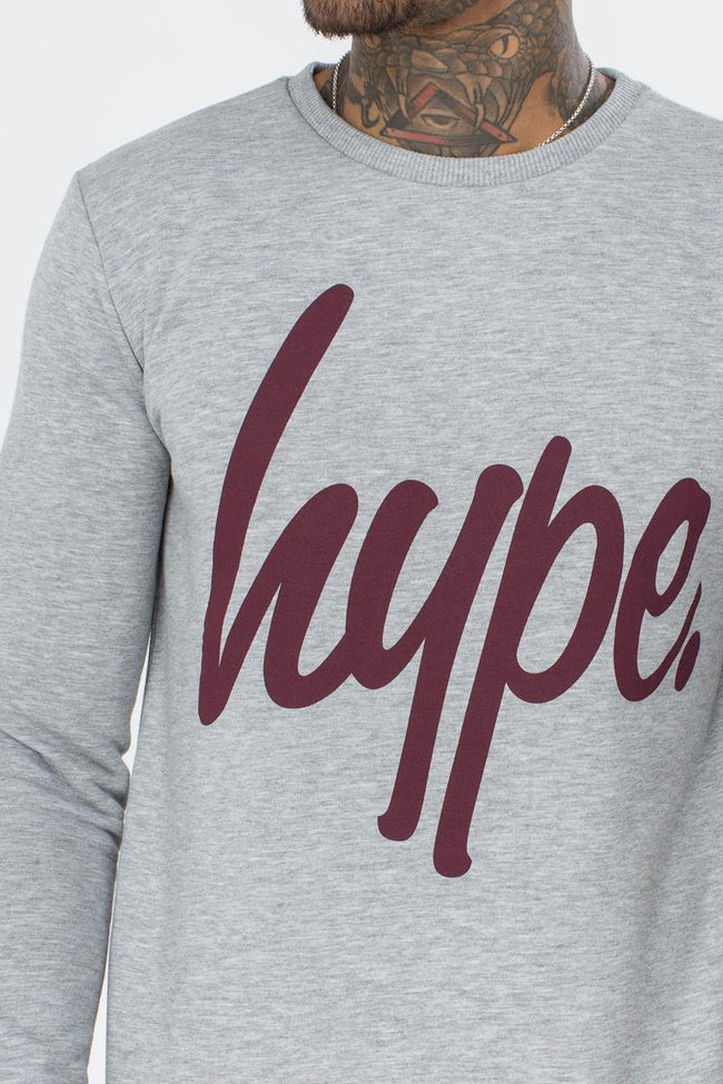HYPE GREY BURGUNDY SCRIPT MENS CREWNECK