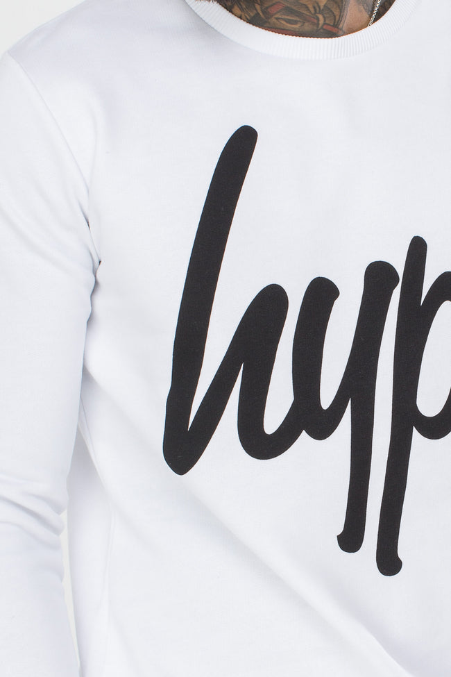 HYPE WHITE SCRIPT MENS CREW NECK