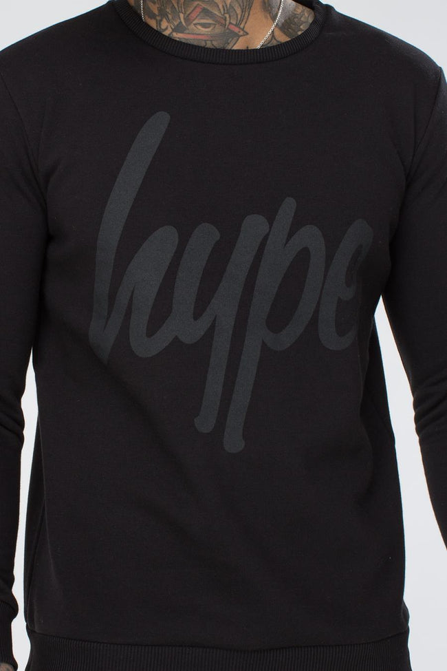 HYPE BLACK TONE ON TONE SCRIPT MENS CREW NECK