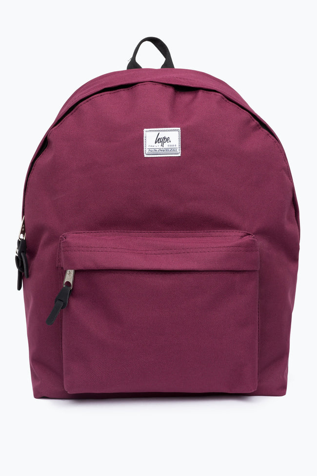 HYPE BURGUNDY WOVEN TAB BACKPACK