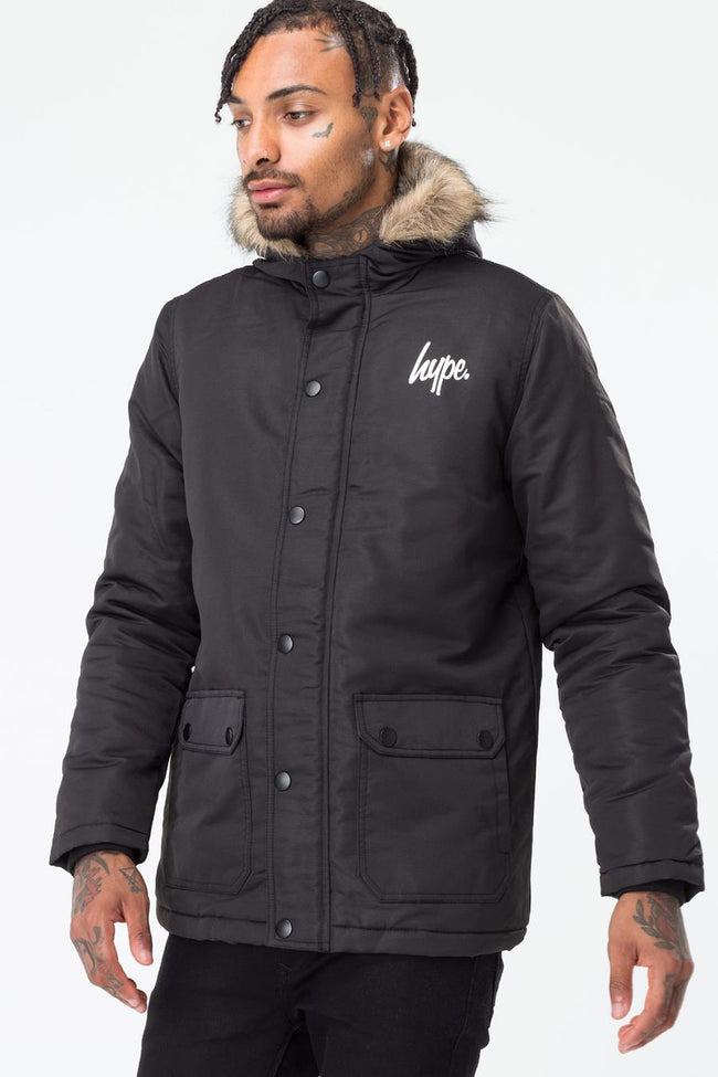 HYPE BLACK CLASSIC MENS PARKA JACKET