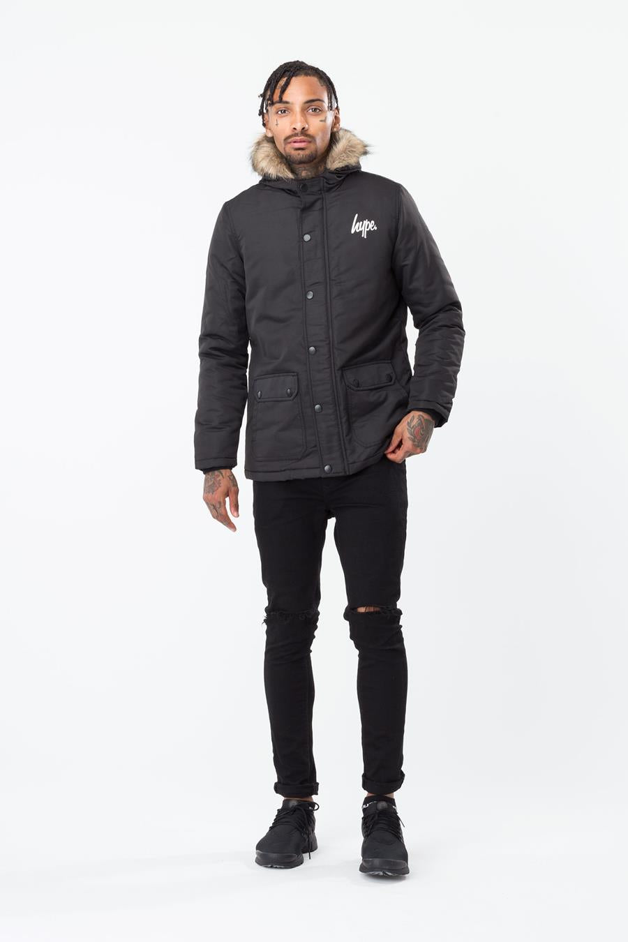 good looking special for shoe super cute HYPE BLACK CLASSIC MENS PARKA JACKET   Justhype ltd
