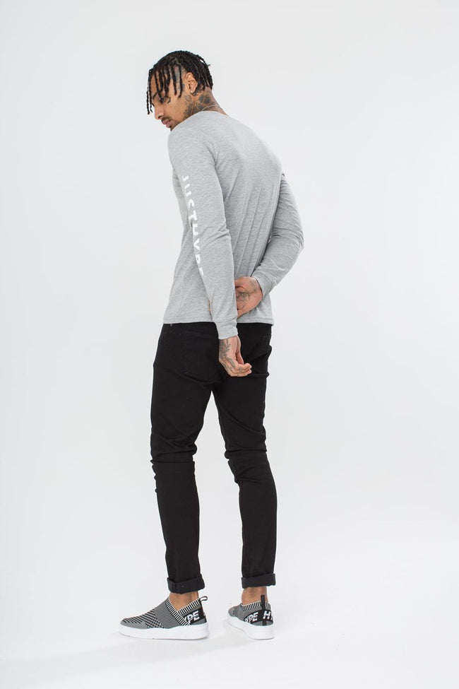 HYPE GREY JUSTHYPE MENS L/S T-SHIRT