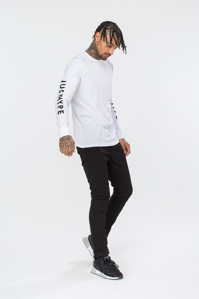 HYPE WHITE JUSTHYPE MENS L/S T-SHIRT