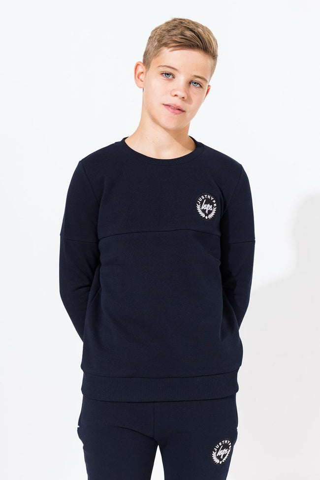 HYPE NAVY CREST KIDS CREW NECK