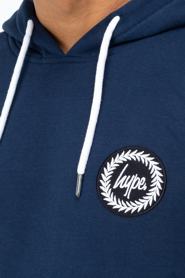 HYPE NAVY CREST MENS PULLOVER HOODIE