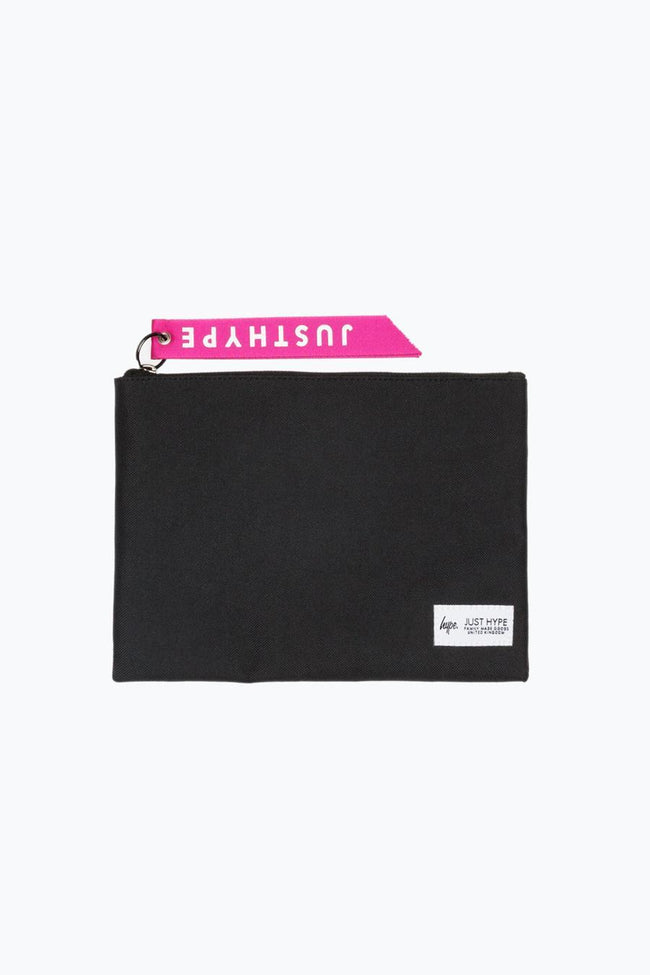 HYPE BLACK WITH PINK TAB POUCH