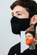 HYPE 2X ADULT BLACK & ORANGE KNIT FACE MASK