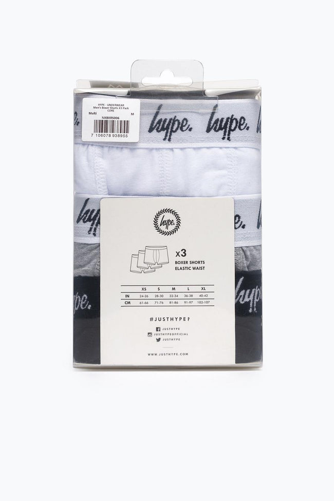 HYPE BLACK SCRIPT MENS BOXER SHORTS X3 PACK